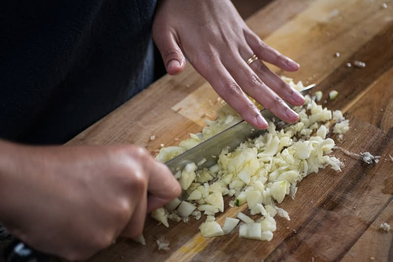 Chopping vegetables can be a form of mindful meditation.
