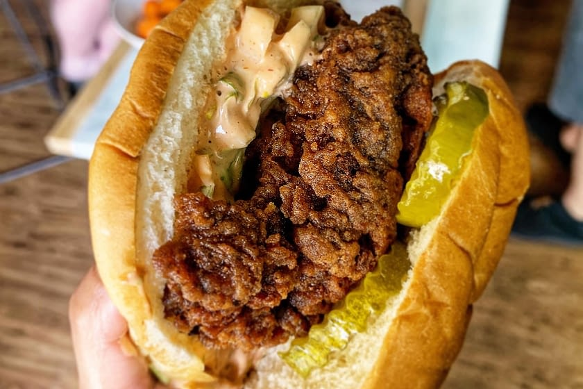 Fried chicken sandwich with pickles and special sauce