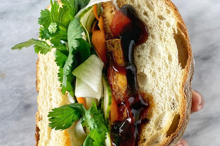 Tofu Bánh mì sandwich with cilantro